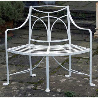 A 19thc Regency curved wrought iron Garden Seat