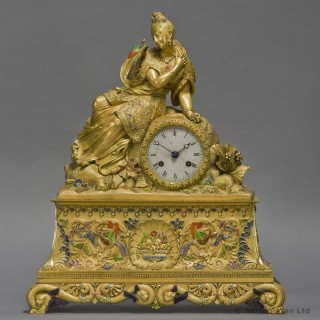 Chinoiserie Style Gilt-Bronze and Enamel Figural Clock