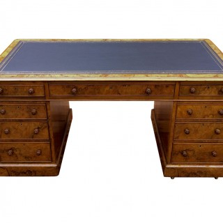 Antique Burr and Figured Walnut Pedestal Desk