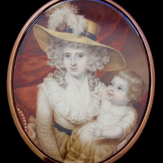 A portrait miniature of Lady Lucy Digby (1748-1787)  with her son