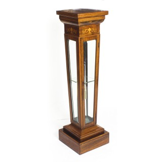 Antique Edwardian Inlaid Gonçalo Alves Display Pedestal Stand 19th C