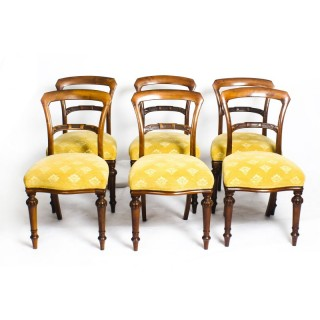 Antique Set of 6 Victorian Walnut Dining Chairs c1850