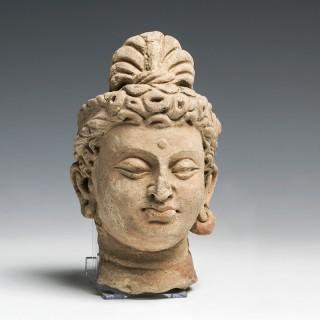 Gandharan Buddhist Stucco Head of a Bodhisattva