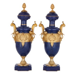 Pair of blue and gold vases in lapis lazuli and ormolu