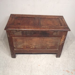 Small Charles II oak coffer.