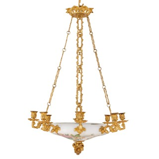 Floral opaline glass and gilt bronze chandelier