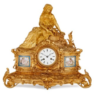 Napoleon III period gilt bronze and Sevres style porcelain mantel clock