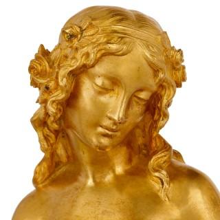 Napoleon III period gilt bronze and Sevres style porcelain mantel clock