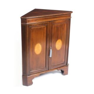 Antique Mahogany & Satinwood Inlaid Low Corner Cabinet c.1900