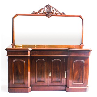 Antique Victorian Flame Mahogany Sideboard Chiffonier 19th C