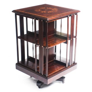 Antique Victorian Mahogany Inlaid Revolving Bookcase 19th C