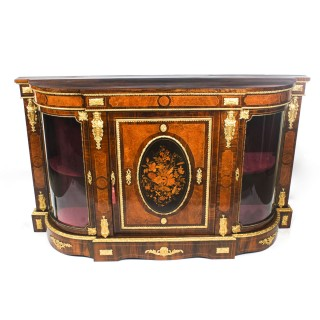 Antique Victorian Burr Walnut Marquetry Ormolu Mounted Credenza 19th C