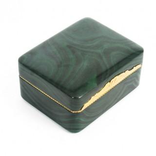 Antique Solid Malachite & Gold Lidded Box Casket 19th Century