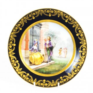 Antique French Sevres Hand-painted Porcelain Gilt Plate 19th C