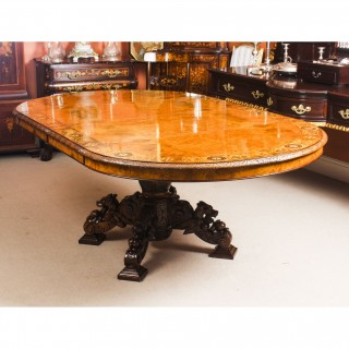 Antique Pollard Oak & Marquetry Oval Victorian Dining Table C 1880