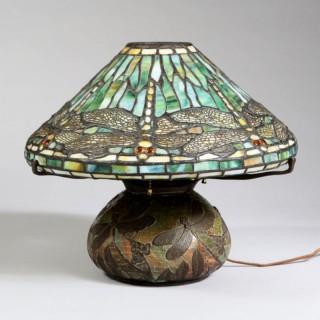 EARLY 20TH CENTURY TIFFANY STYLE DRAGON FLY LAMP