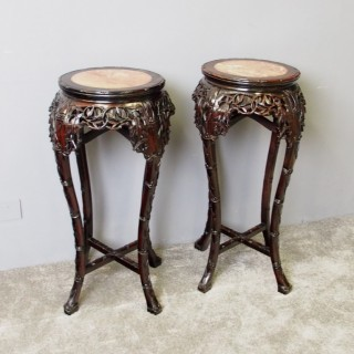 Pair of Large Chinese Rosewood Plant Stands