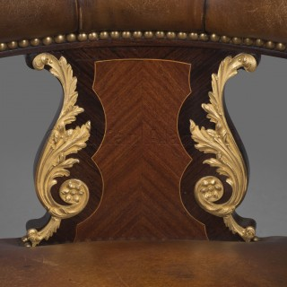 A Louis XV Style Gilt-Bronze Mounted Desk Chair
