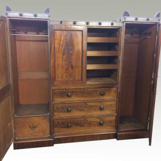 Georgian  mahogany breakfront wardrobe.