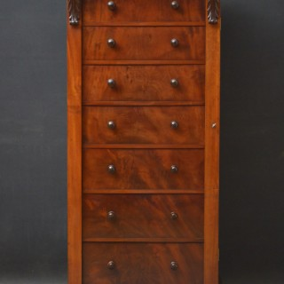 Fine Quality Victorian Flamed Mahogany Wellington Chest
