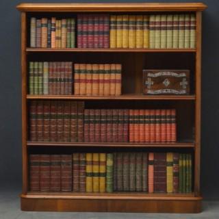 Rare Victorian Figured Walnut Open Bookcase