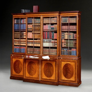 George III Period Mahogany, Satinwood, Tulipwood and Kingwood Library Breakfront Bookcase attributed to Gillows of Lancaster