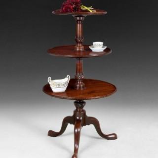George III period Mahogany three tier Dumb Waiter