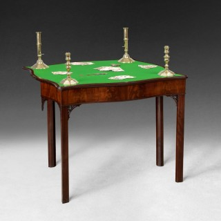 Chippendale period Serpentine shaped Mahogany Fold over top Card Table