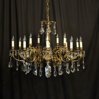 Italian Gilded Bronze & Crystal 15 Light Antique Chandelier