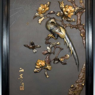 LARGE DECORATIVE JAPANESE IRON & MIXED METAL WALL PANEL
