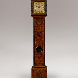 JAMES (JACOBUS) MARKWICK RARE CHARLES II PARQUETRY LONGCASE CLOCK
