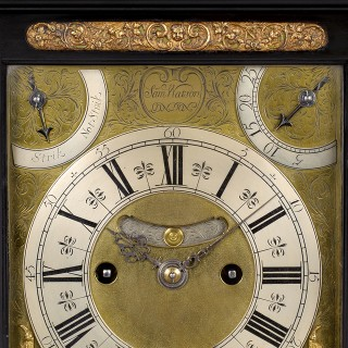 SAMUEL WATSON: A FINE WILLIAM III PERIOD EBONISED TABLE CLOCK WITH AN ARISTOCRATIC HISTORY