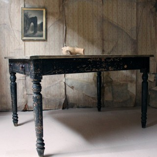 A Victorian Black Painted Pine Farmhouse Kitchen Table c.1870