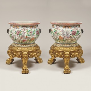 A Pair of Samson Fish Bowls in the Oriental Manner, on Giltwood Stands