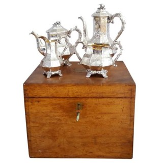 Antique Early Victorian Sterling Silver 4 Piece Teaset in Oak Case – 1843
