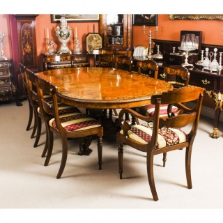 Antique Pollard Oak Victorian Dining Table 19th C & 8 Bespoke Chairs