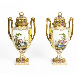Antique Pair Helena Wolfsohn Dresden Porcelain Vases 19th C