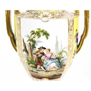 Antique Pair Helena Wolfsohn Dresden Porcelain Vases 19th C