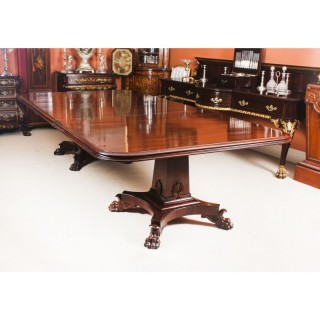 Antique George III Flame Mahogany Twin Pedestal Dining Table 19th C