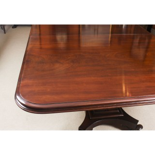 Antique George III Mahogany Twin Pedestal Dining Table c. 1810 & 10 Chairs