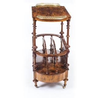 Antique Victorian Burr Walnut & Inlaid Canterbury 19thC