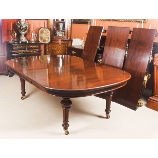 Antique Victorian D-end Mahogany Dining Table 19th C & 12 chairs