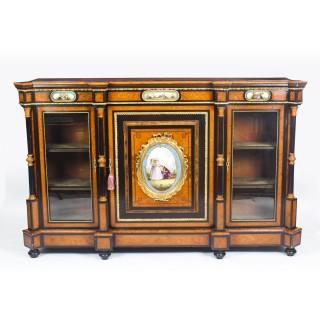 Antique Victorian Burr Walnut Credenza Sevres Plaques 19th C