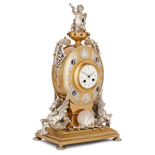 Antique English ormolu and silvered bronze mantel clock