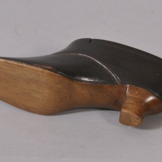 Antique Treen 19th Century Fruitwood and Ebonised Snuff Shoe