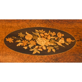 Antique French Burr Walnut Marquetry Card & Chess Table 19th C