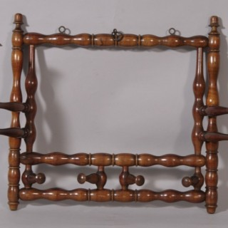 Antique 19th Century Fruitwood Wall Mounted Coat, Tie or Hat Rack