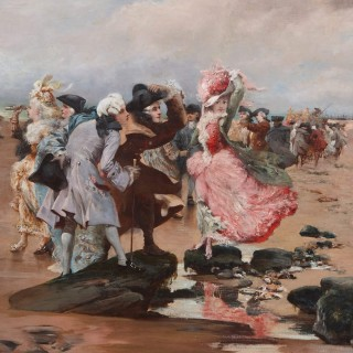 'A Sunday by the Sea', large oil on canvas painting by Georges Clairin
