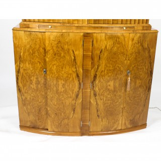 Antique Art Deco Burr Walnut Half Moon Cocktail Bar c.1930