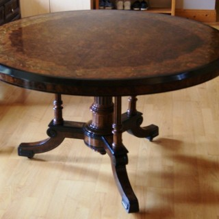 Victorian `Burr Walnut'  Center Table,  stamped & numbered 'Gillow & Co.'